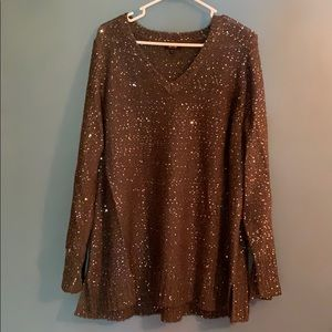 Plus Size V-neck sequin Sweater